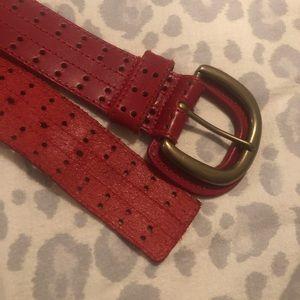 Brick red Christian Dior leather belt